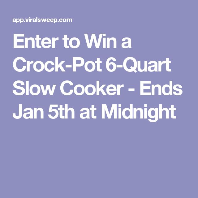 Enter to Win a Crock-Pot 6-Quart Slow Cooker - Ends Jan 5th at Midnight