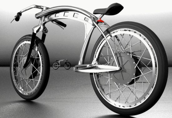 Electric bike with rear hub motor and front hub battery, plus pedals with 6-speed transmission if you run out of juice.