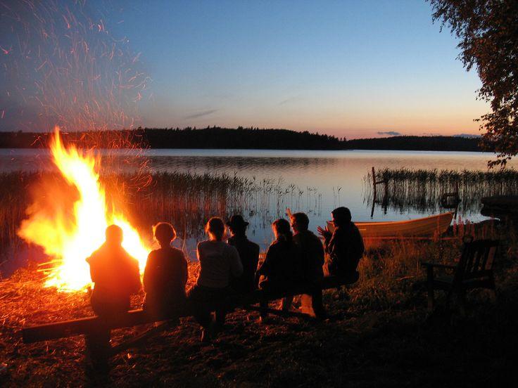 Traditional midsummer bonfire in Finland #Finland #Nature
