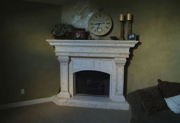 Natural Stone fireplace Cream colored stone against