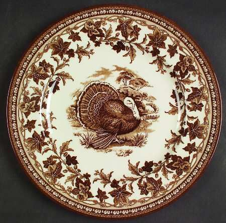 "Turkey Plate, brown transferware by Wedgewood called ""His Majesty""...vignette design"