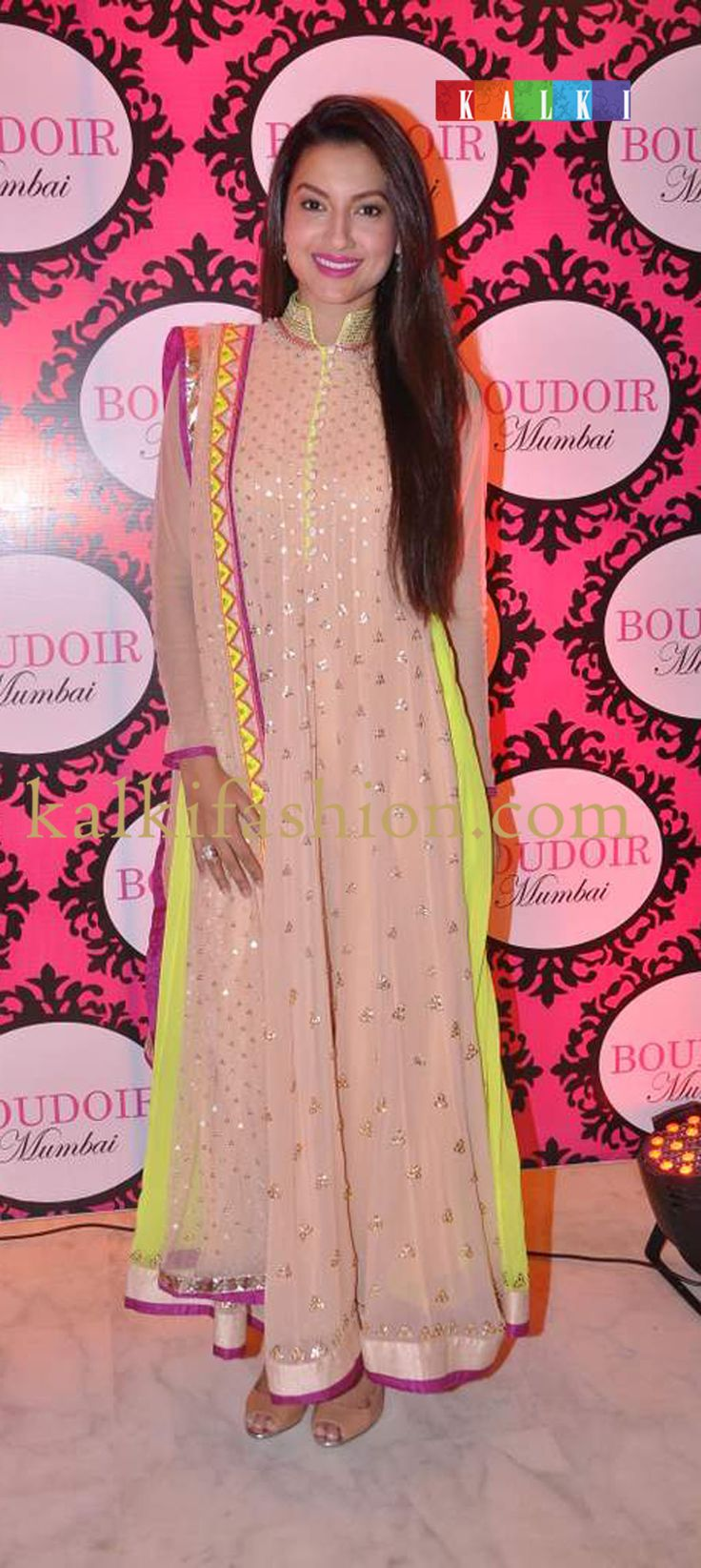 http://www.kalkifashion.com/ Gauhar Khan in anarkali outfit by Kanika Kedia at her store Boudoir Mumbai