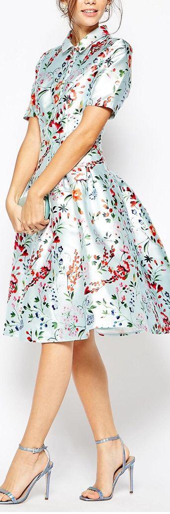 full skirt floral shirt dress