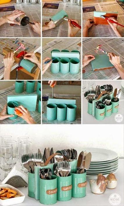 Organizador de cubiertos reciclado con latas. Realizado con materiales de Néstor P. Carrara SRL.   Contacto l https://nestorcarrarasrl.wordpress.com/e-commerce/  Néstor P. Carrara S.R.L l ¡En su 35° aniversario!