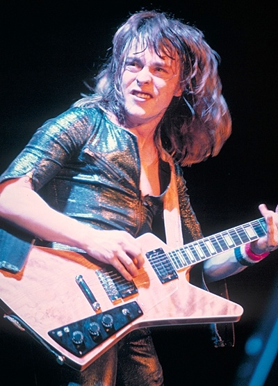 "Rick Derringer's guitar was among an already limited run of 1958 Explorer guitars, Derringer's had a further distinction. ""He had one of the rarest Explorers ever made,"" ""It had a split head stock that almost looks like a Gibson Flying V."" The guitar eventually became so valuable that Derringer had a replica made for touring. It was sold to a collector for ten thousand dollars, today the value of the unique piece is estimated at one million."