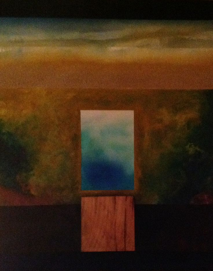 "Patrick Michel.                                2009.  "" House and Pool"".                                  Oil, sand,cedar on canvas.       32 x 40"