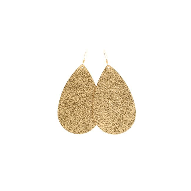 Matte Gold Nickel and Suede Leather Earrings - medium