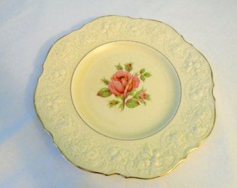 Plate CROWN DUCAL Pattern 5379 Embossed Rim, Rose Center, Gold Trim 9 3/4 inch Dinner Plate Made in England
