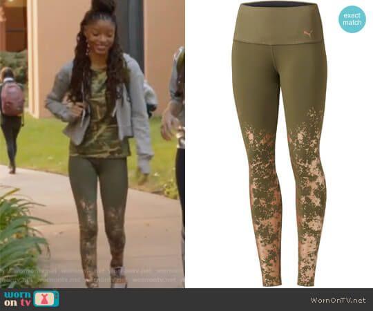 Skylar's camo print top and khaki leggings on Grown-ish.  Outfit Details: https://wornontv.net/91201/ #Grown-ish