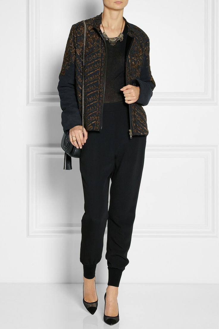 By Walid|Embroidered silk bomber jacket | Rick Owens | Cotton-jersey tank top | Stella McCartney | Julia stretch-cady tapered pants | Gianvito Rossi | Suede and mesh pumps  | Gucci | Soho textured-leather shoulder bag