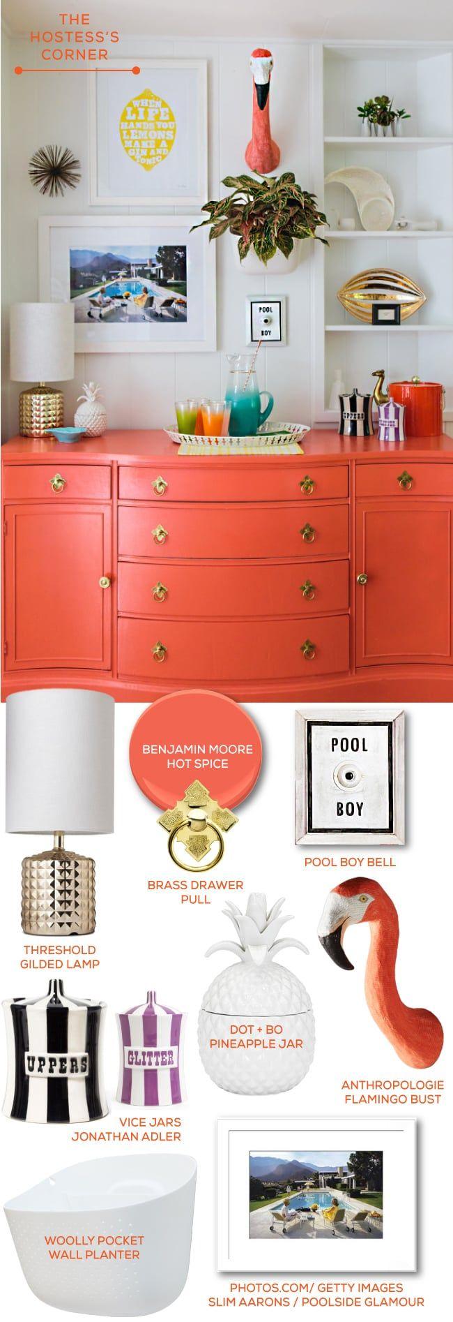 "VIVA LA FOYER:Gray Malin Skinny Dipframed print, loom decor throw  pillows, jonathan adler claude gossip bench set.  THE CHOW HALL: Lex Mod 54"" Lippa Table, Gray Malin Welcome to the Parker,  Loom Decor Color Block Drapes (Ivory + Coral), Dot and Bo Sphere pendant  in gold.  THE HOSTESS'S CORNER:Benjamin Moore Hot Spice Paint, Target Threshold  Gilded Lamp, Lisa GoLightly Ringing Pool Boy Bell, Jonathan Adler Vice Jars , Dot + Bo Kailua Pineapple Jar, Anthropologie Flamingo Bust, Woolly…"
