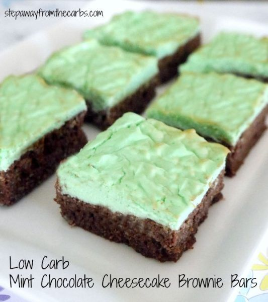 Low Carb Mint Chocolate Cheesecake Brownie Bars - a sugar free sweet treat