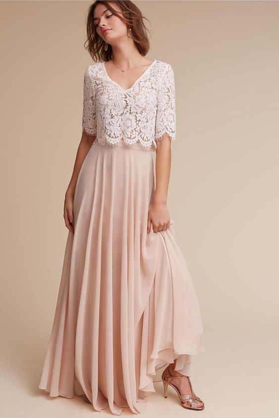 38 Chic And Trendy Bridesmaids' Separates Ideas: blush chiffon maxi skirt and a lace half-sleeve crop top
