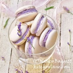 Fresh lavender buttercream recipe--wonderful piped onto butter cookies, tucked in French macaron sandwiches, swirled onto cupcakes. From Nancy Baggett's www.kitchenlane.com