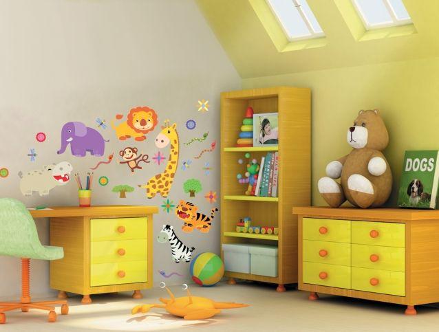 Виниловые наклейки «Веселые животные» - купить наклейки на стену для детской комнаты.