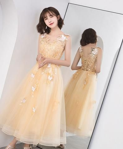 3e50d96009 Gold v neck tulle lace short prom dress