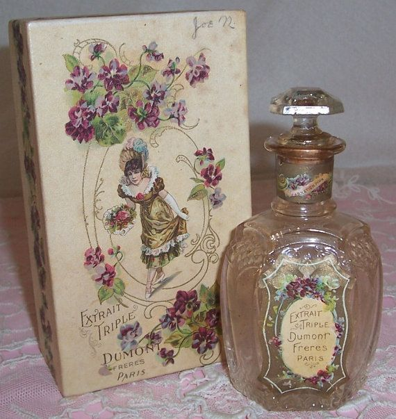 Antique, FRENCH Freres Violets & Lady Lithograph Label PERFUME Bottle w/ Box