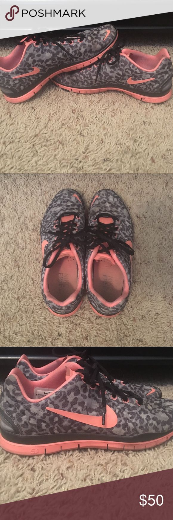 Nike Free 5.0 Grey Cheetah print Grey cheetah print with coral color Nike Free 5.0. Lightly used tennis shoes Nike Shoes Athletic Shoes