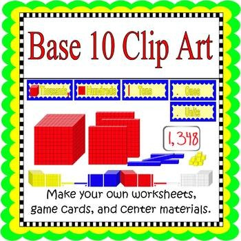 Use this Base Ten Clip Art (300 dpi) to make your own games, flashcards, and worksheets.*Four sets of Unit/One Block, Tens Sticks (vertical and...