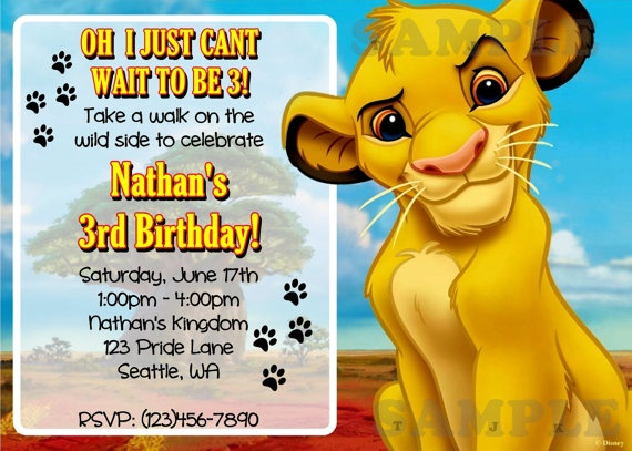 Best Romans St Birthday Images On Pinterest Birthday Cakes - Lion king birthday invitation template free
