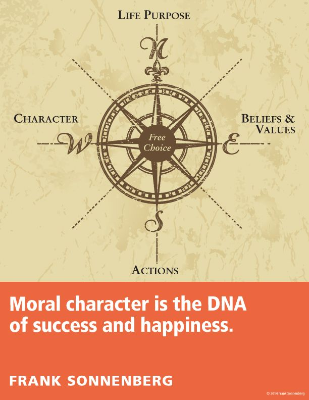 """""""Moral character is the DNA of success and happiness."""" ~ Frank Sonnenberg I Follow Your Conscience"""