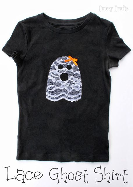 Ghost Halloween shirt appliqued with lace! Would be cute on a dress with lace leggings :)