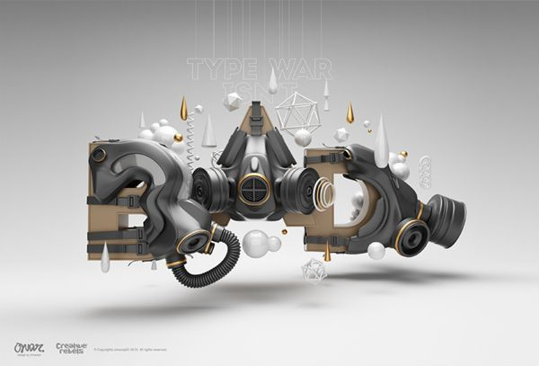 Love the feel of this #type illustration even if it is hard to decipher between BAD and RAD! TYPE WAR by omar aqil