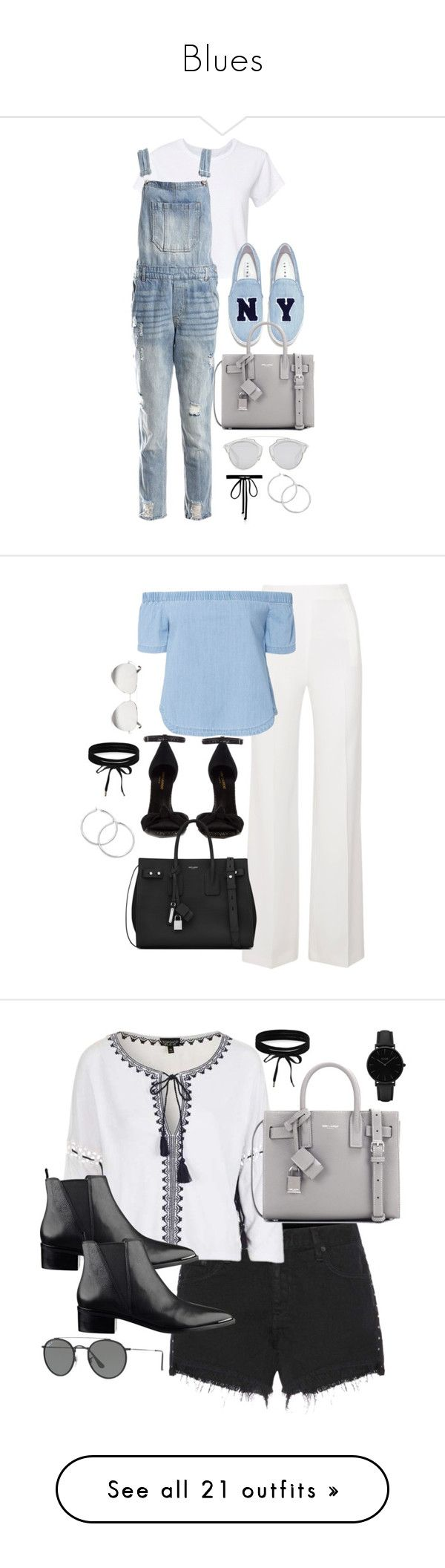 """""""Blues"""" by theaverageauburn ❤ liked on Polyvore featuring RE/DONE, Sans Souci, Joshua's, Yves Saint Laurent, Christian Dior, Joomi Lim, Roland Mouret, 3x1, Victoria Beckham and Boohoo"""