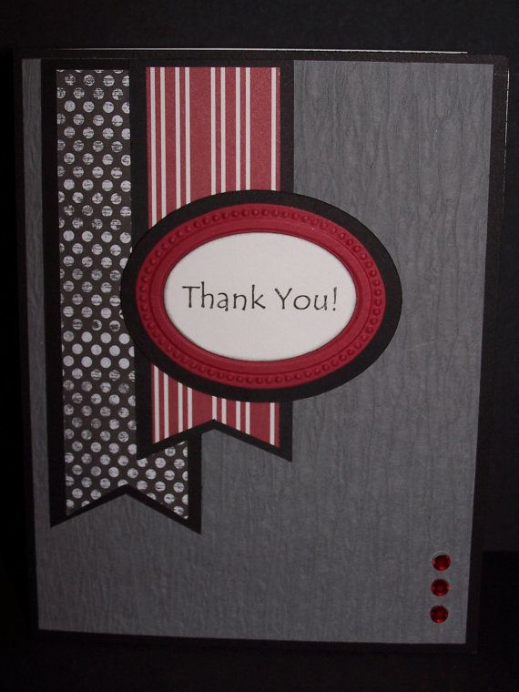 Handmade Greeting Card: Black, Gray, Red and White Thank You Card on Etsy, $3.50