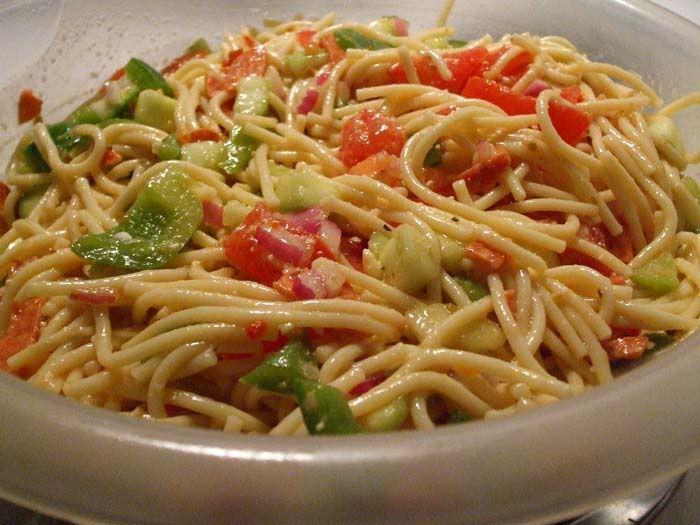 Cold spaghetti pasta salad try with another kind of for Cold pasta salad ideas