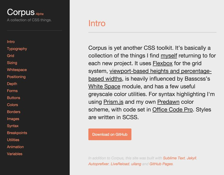 Corpus - a CSS toolkit using flexbox, viewport/device height/width, and white space correction.