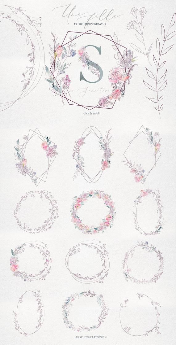 Une Fille Pink Purple Watercolor Floral Bouquets Seamless Pattern Flowers Peonies Clipart Set Wedding Clip Art Hand Painted PNG Graphics