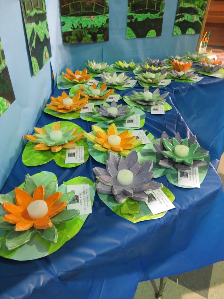 Monet inspired water lilies, 4th/5th graders. Boulder Oaks Art Docent Program, Cheryl Sampo, art docent.