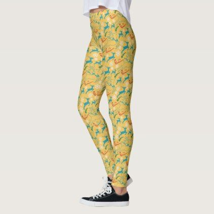 Create Your Own Deer & Snowflakes Yellow Leggings - winter gifts style special unique gift ideas