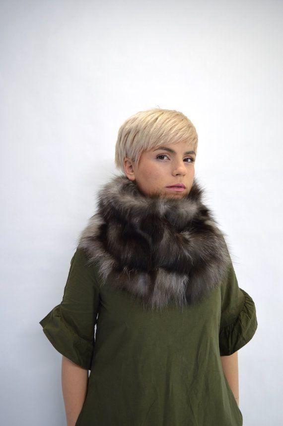 Real silver fox fur cowl wrap collar loop scarf  genuine by BeFur