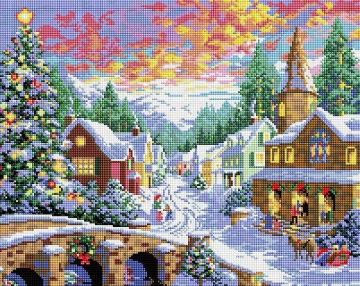 Набор Белоснежка для изготовления картин со стразами на подрамнике арт.БЛ.303-ST-S Рождественская ночь 40х50см