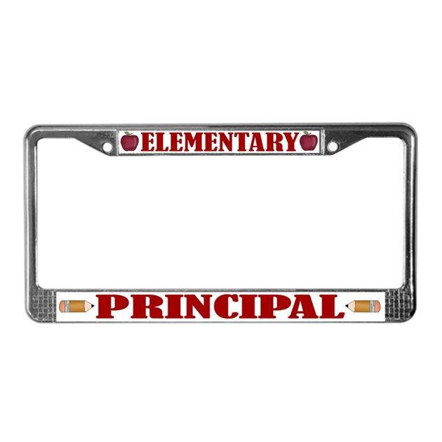 """Fun gift for Elementary School principals - a colorful educator license plate frame with """"ELEMENTARY PRINCIPAL"""" slogan. back to school, education, K-6."""