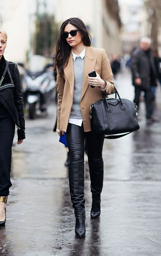 A good pair of leather pants can make even the most covered-up work outfit look totally sexy.