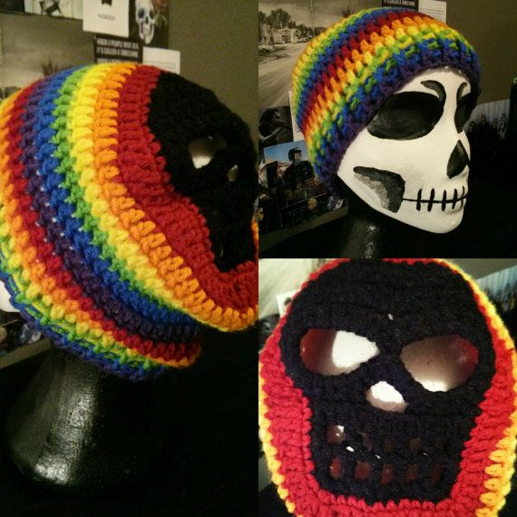 Rainbow Colored Skull Beanie $12.50 Open to requests! If you have any questions please ask! Shipping $5.25