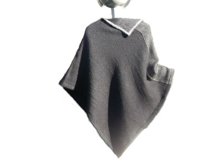 Capes & Ponchos - Handgewebter Poncho aus Wolle & KidMohair…