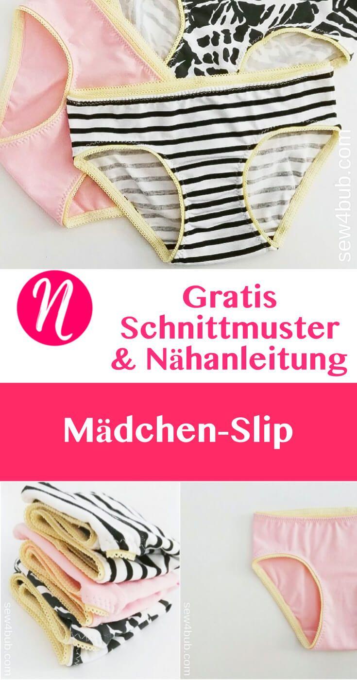 Mädchen Slip oder Unterhose für 2 - 10 Jahre - Kostenloses Schnittmuster & Nähanleitung ❤ DIY Kindermode ❤ Nähtalente - Magazin für kostenlose Schnittmuster