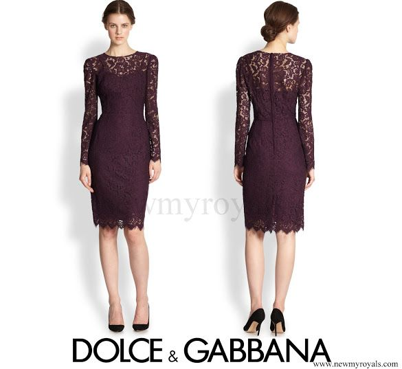 Crown Princess Mary wore DOLCE AND GABBANA Long-Sleeve Floral-Lace Scalloped Sheath Dress newmyroyals.com