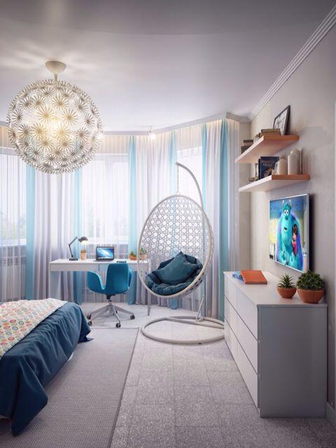 Спальня девочки-подростка. Интерьер. Детская. The teenage girl's room. Bedroom for girl.