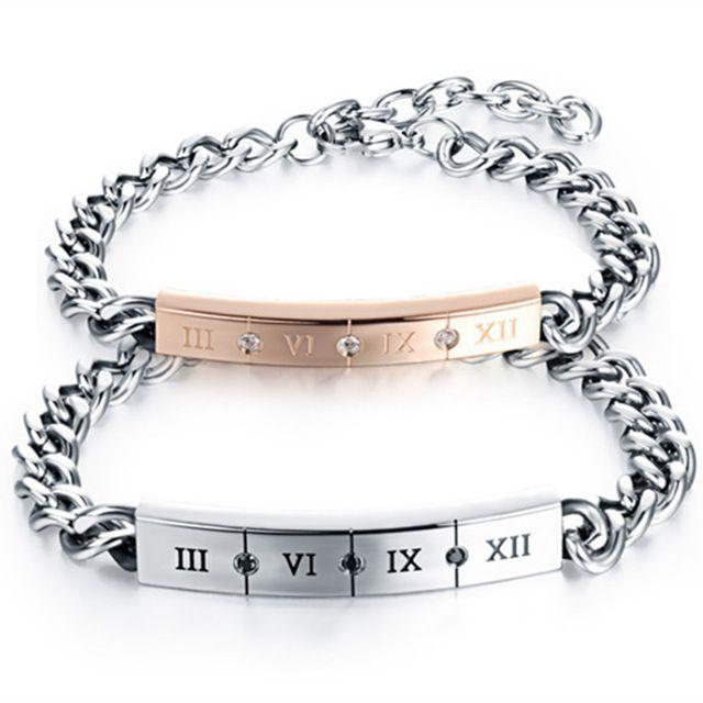 Мода римские цифры Пару браслет черный и белый CZ браслет из нержавеющей стали мужские Женщины и любовника Рождественские подарки