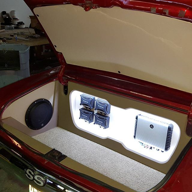 """pioneer 8100nex at the head which handles all the processing and media playback features, it also has a jl audio hd900/5 which powers 2 sets of focal px165 6.5"""" components passively as well as a JL 10w6v3 for the sub bass duties. All Knukonceptz chevelle car audio custom trunk install power wiring and RCA along with sky high car audio speaker wiring. A single 34/78 Optima Red Top for the battery. sub on the side"""