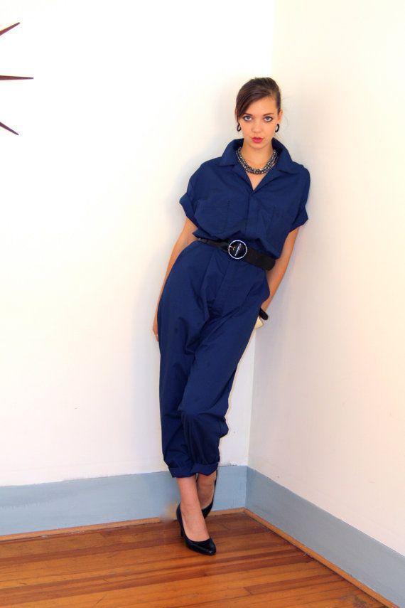 vintage dark navy blue dickies onepiece jumpsuit work on dickies coveralls id=62184