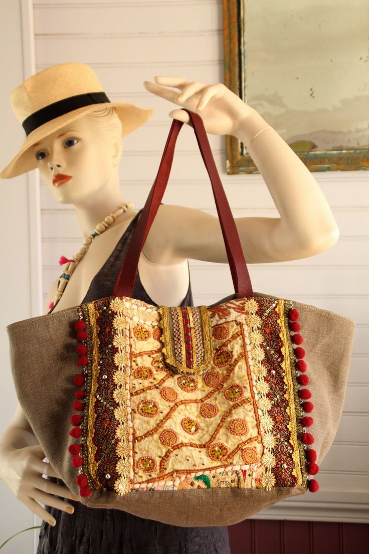 sac style boh me hippie chic en coton lin taupe tissus inde rebrod de perles galons fleurs. Black Bedroom Furniture Sets. Home Design Ideas