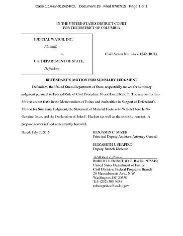 Page 1: Judicial Watch v. State Department Motion for Summary Judgment 1242