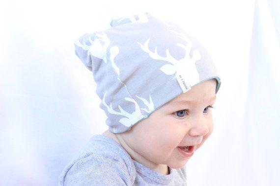 Gorrita tejida del bebé Gorro niño, gacho gorrita tejida, sombrero del bebé, gorrita tejida del bebé suave, dos estilos diferentes - ciervo gris