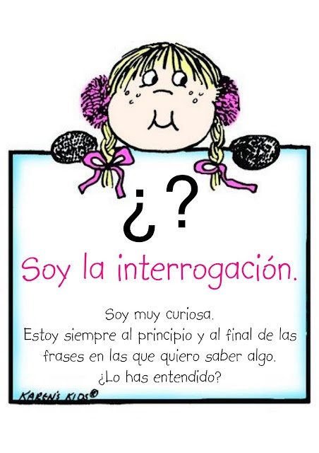 La interrogación-    There are four of these. Let's review and pre teach before a writing project.